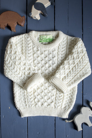 Aran Crew Neck Jumper KIDS - Natural