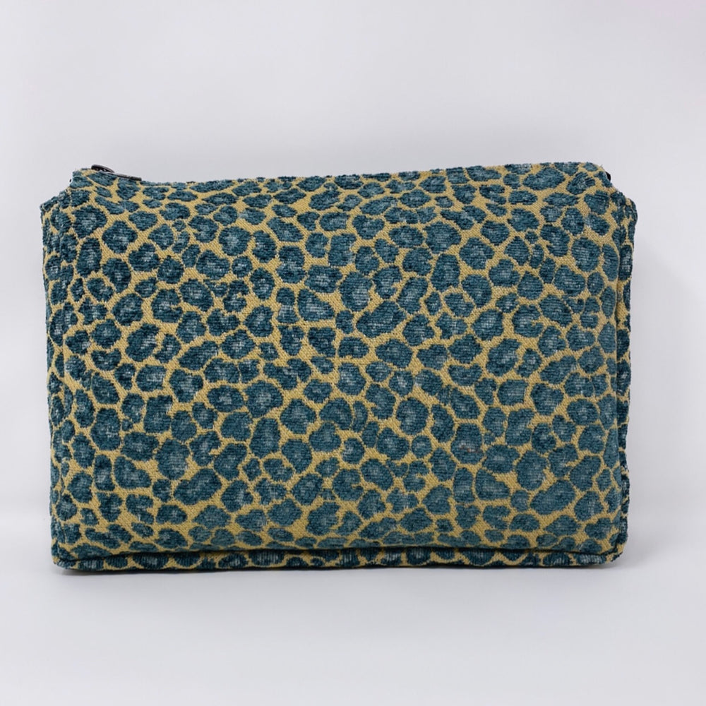 """The Big One"" Makeup Bag//Turquoise and Gold Cheetah"