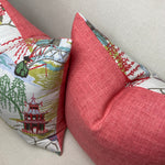 Pair of Coral Neo Toile