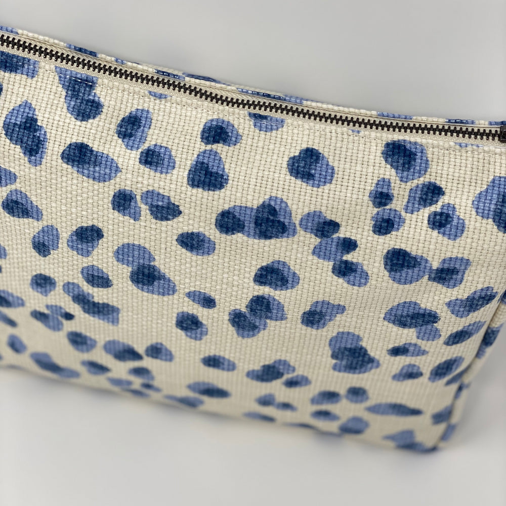 """The Big One"" Makeup Bag//Cornflower Blue Mira Dot"