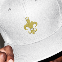 Fleur-de-finger: Embroidered snap back, non-constructed, 5 panel cap.