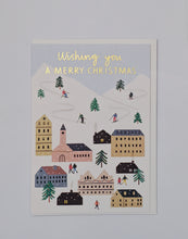 Load image into Gallery viewer, Winter ski village gold foil Christmas card