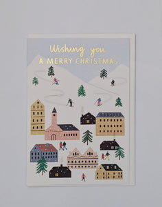 Winter ski village gold foil Christmas card