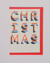 Load image into Gallery viewer, Red and blue risograph font Christmas card