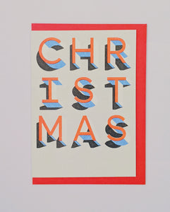 Red and blue risograph font Christmas card