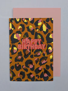 Leopard print pink happy birthday card 🐆