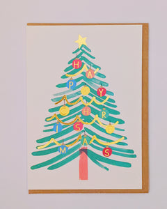 Christmas tree and bauble gold foil Christmas card