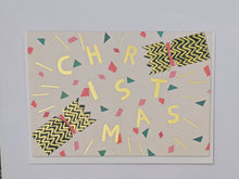 Load image into Gallery viewer, Festive crackers gold foil Christmas card