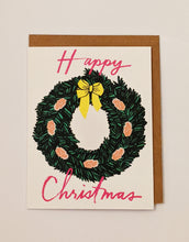 Load image into Gallery viewer, Pink and green festive wreath card