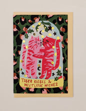 Load image into Gallery viewer, Tiger kisses and mistletoe wishes Christmas card