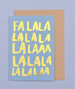 Falalala gold foil Christmas card