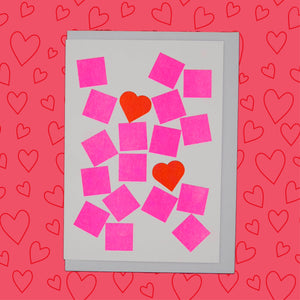 Red hearts and pink squares risograph printed cards