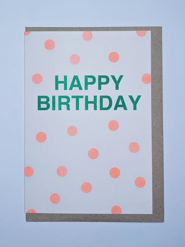 Green and orange happy birthday card