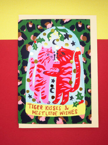 Tiger kisses and mistletoe wishes Christmas card
