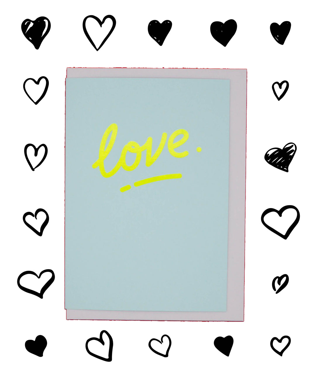 Neon yellow and baby blue 'love' risograph printed Valentine's Day card💛💙