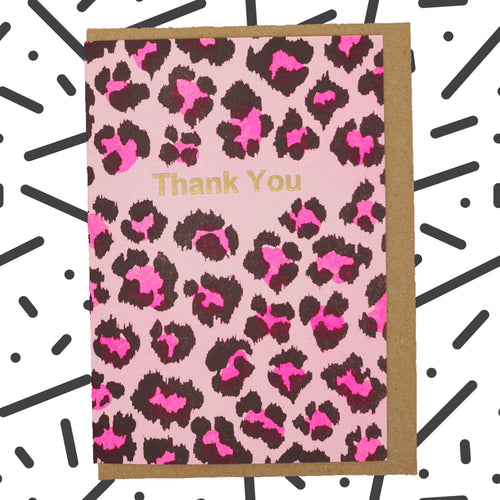 Pink leopard print thank you card