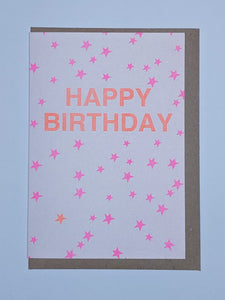 Pink and orange neon happy birthday card
