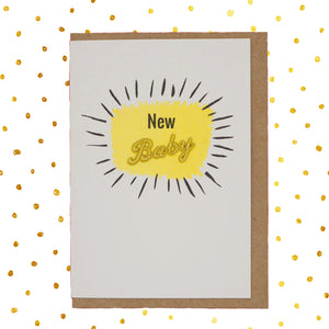 Yellow and gold new baby 👶🏻 celebration card