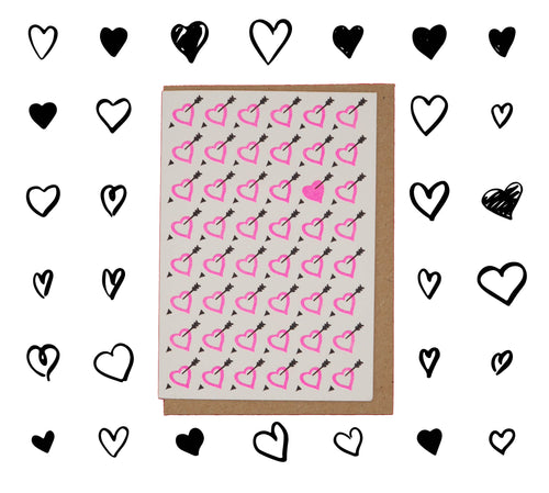 💘Neon pink hearts with arrows Valentine's Day card💘