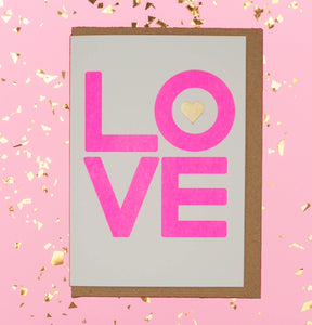 Neon pink LOVE with gold heart Valentines's Day card 💖