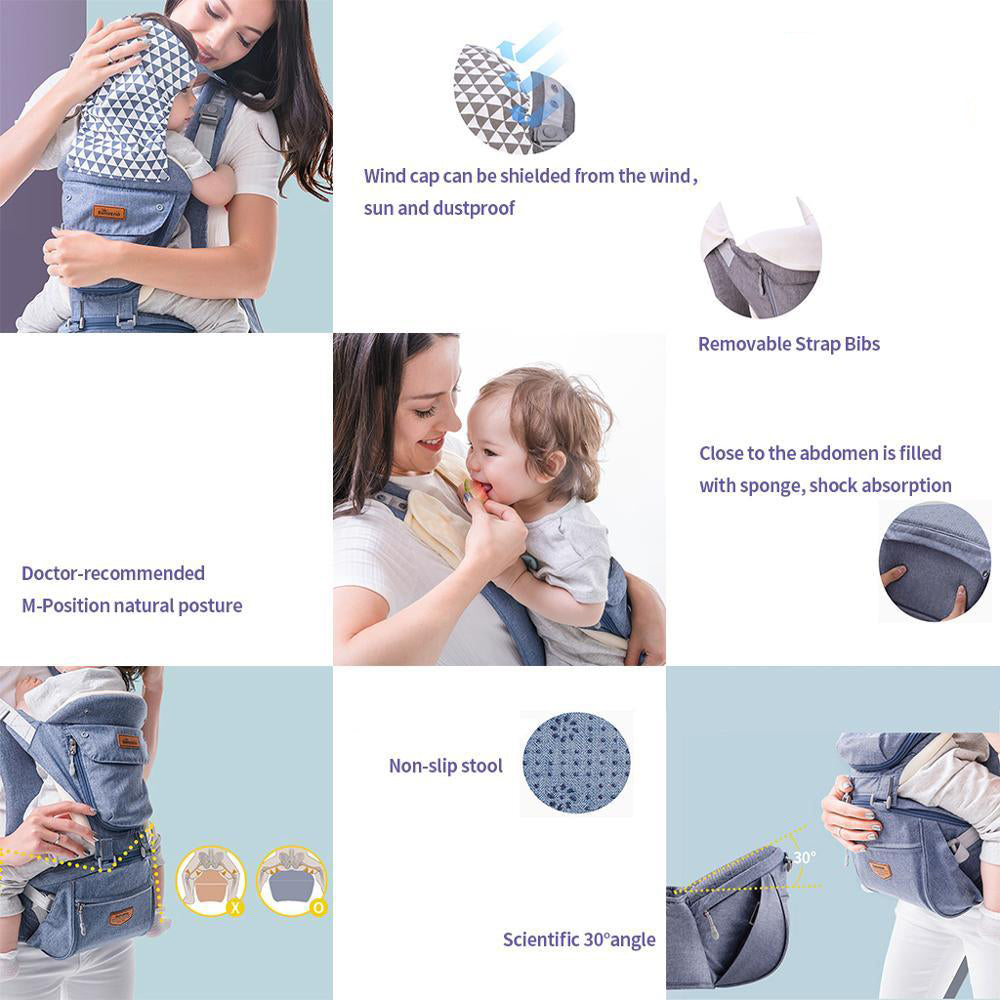 Ergonomic Baby Carrier / Infant Baby Hipseat Waist Carrier (6 in 1)