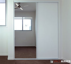 Framed Mirror and Vinyl Sliding Wardrobe Doors - White Frames, Glacier Insert