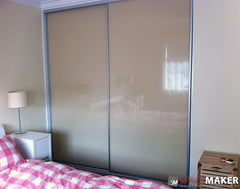 Framed Painted Glass Sliding Wardrobe Doors - Matt Natural Frames, Almond Glass