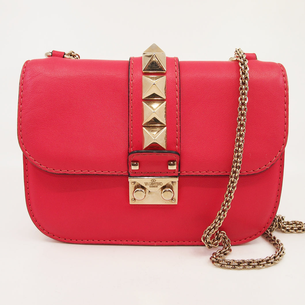 VALENTINO Rockstud Glam Lock Pink Leather Shoulder Bag