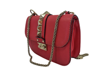 Brown VALENTINO Rockstud Glam Lock Pink Leather Shoulder Bag