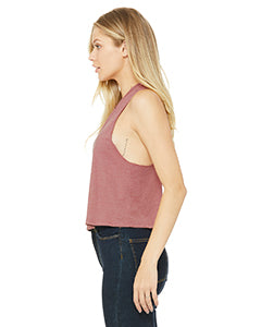Heather Mauve Ladies' Racerback Cropped Keep Going Tank