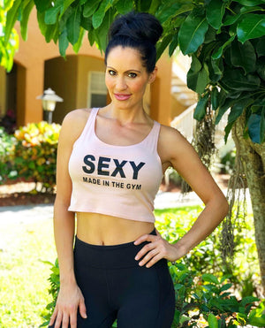Heather Peach Ladies' Poly-Cotton Sexy Made in the Gym Crop Tank (Free Shipping 2-5 Days USA)