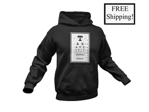 Taxation is Theft Eye Chart Light Hoodie