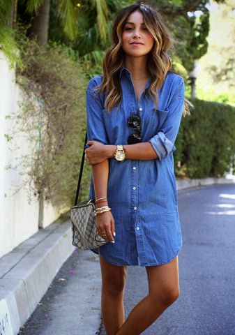 Sincerely, Jules in a Chic Denim Dress