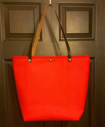 Red Canvas Simple Tote
