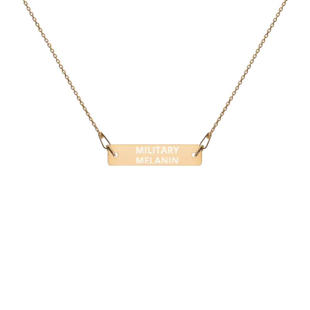 Military Melanin Engraved Silver Bar Chain Necklace