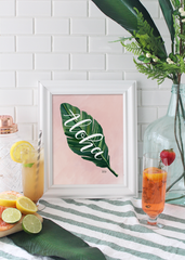 Hand-illustrated palm leaf print by Valerie McKeehan