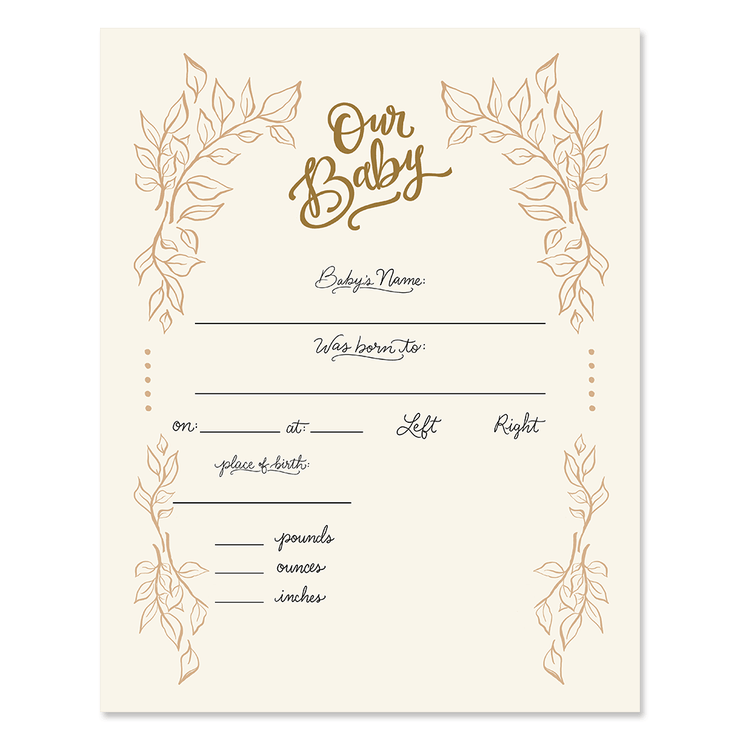 Fill In The Blank Baby Birth Stats Print - Gender Neutral