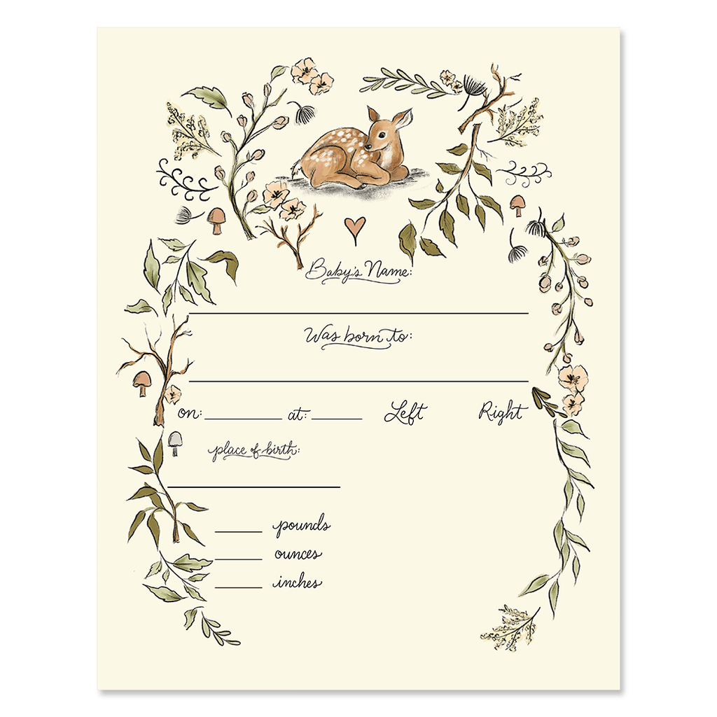 Fill In The Blank Baby Birth Stats Print - Woodland