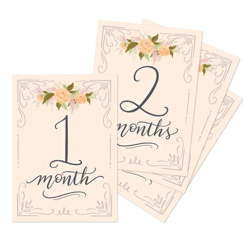 Floral Monthly Baby Milestone Cards - Digital Download