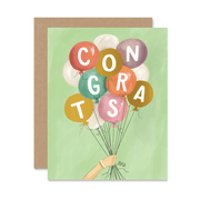 Congrats Balloons with Foil - A2 Note Card