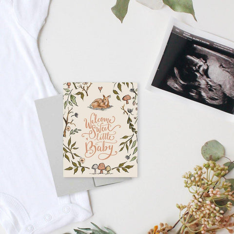 Welcome Sweet Little Baby - A2 Note Card