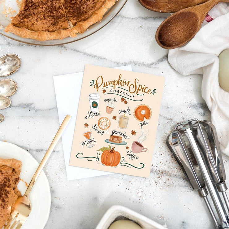 Pumpkin Spice Checklist- A2 Note Card