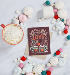 Love & Hot Cocoa - A2 Note Card