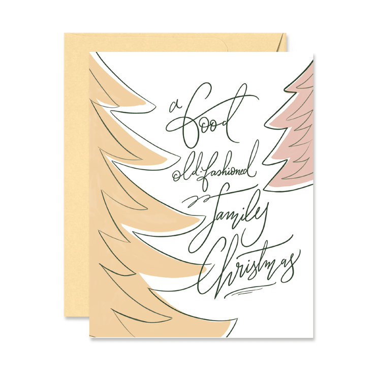 Old Fashioned Family Christmas - A2 Note Card