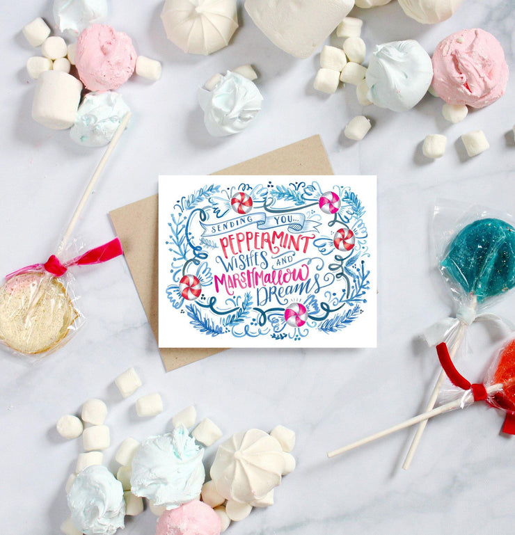 Peppermint Wishes and Marshmallow Dreams- A2 Note Card
