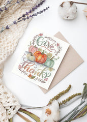 Give Thanks Watercolor - A2 Note Card