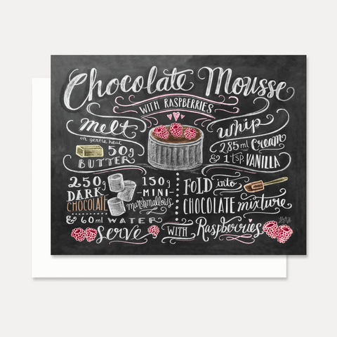 Chocolate Mousse Recipe - A2 Note Card