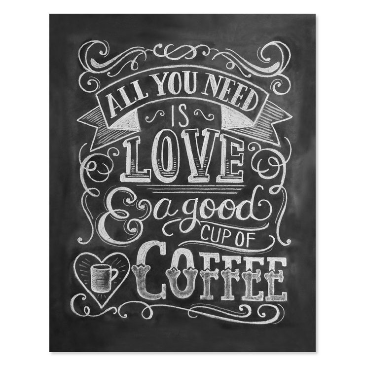 All You Need Is Love & Coffee - Print