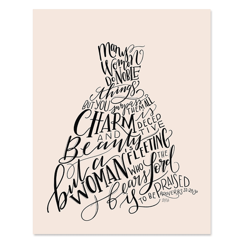 Proverbs 31 Princess Dress Figure - Print & Canvas