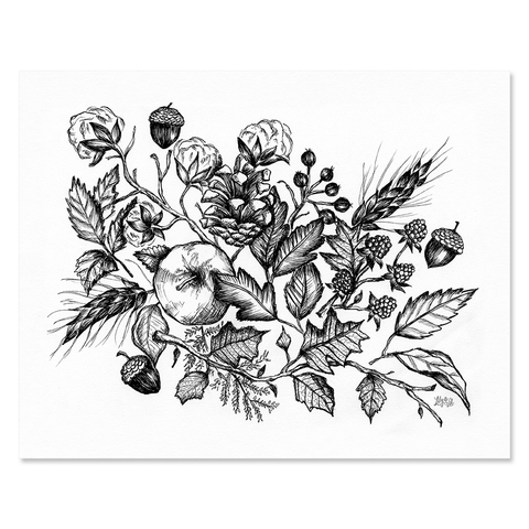 Fall Botanical (Black) - Print & Canvas